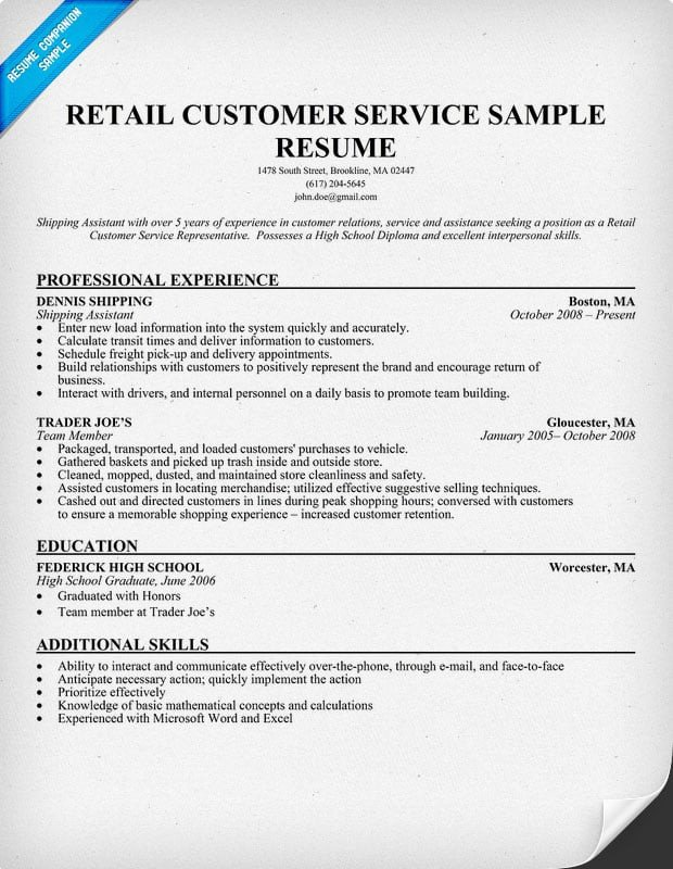 Retail Customer Service Resume Chronological Resume format
