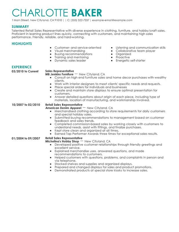 Retail Customer Service Resume Rep Retail Sales Resume Examples – Free to Try today