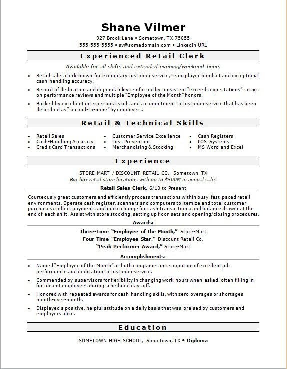 Retail Customer Service Resume Retail Sales Clerk Resume Sample
