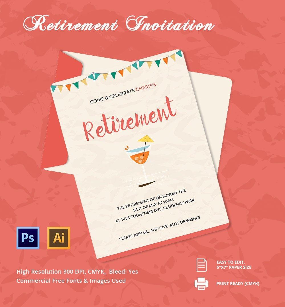 Retirement Invitation Template Free 25 Retirement Invitation Templates Psd Vector Eps Ai