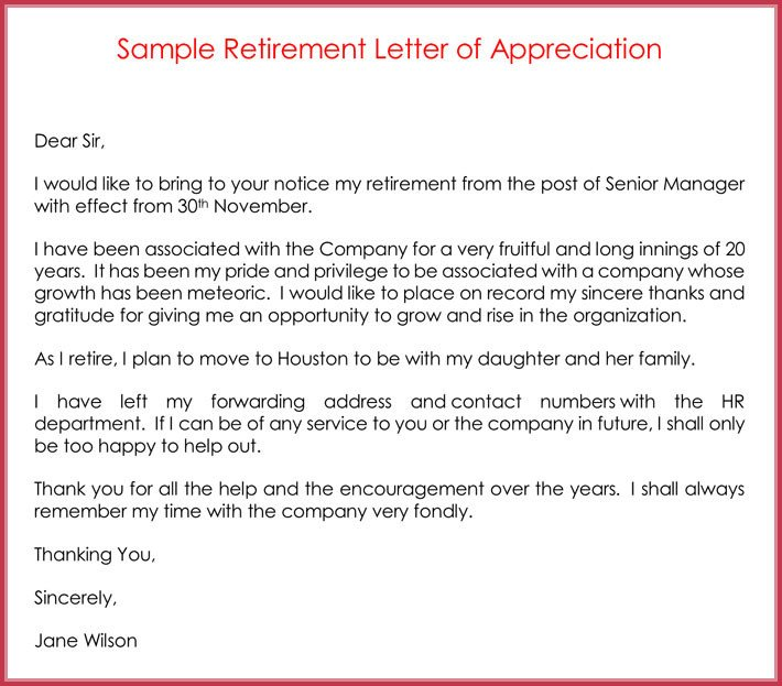 Retirement Letter Of Appreciation Retirement Letter Samples Examples formats & Writing Guide
