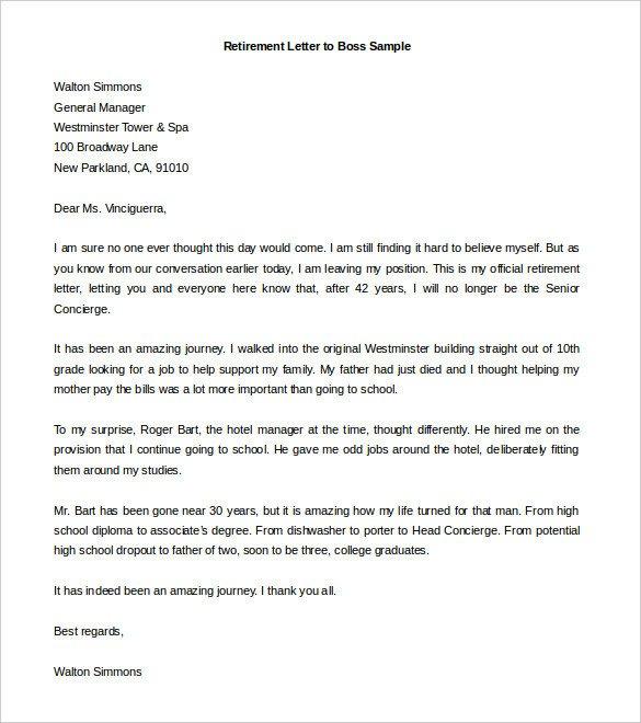 Retirement Letter Of Appreciation Sample Retirement Letter