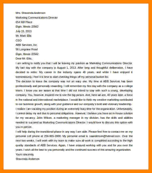 Retirement Letter to Clients 10 Retirement Resignation Letter to Employer