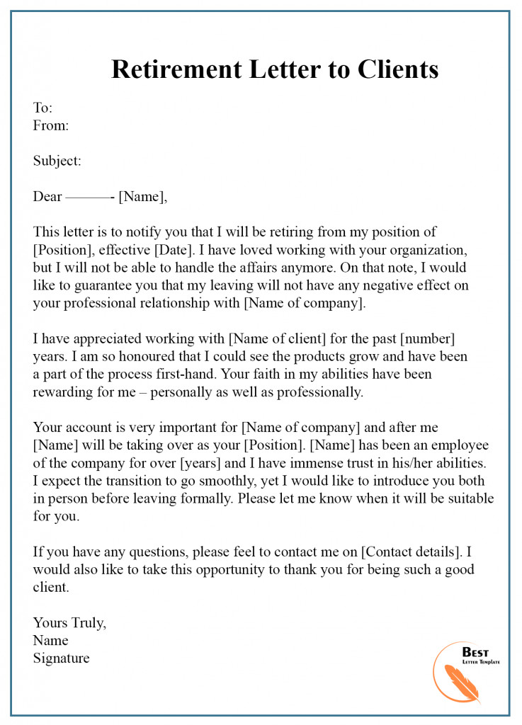 Retirement Letter to Clients 7 Free Retirement Letter Template – format Sample