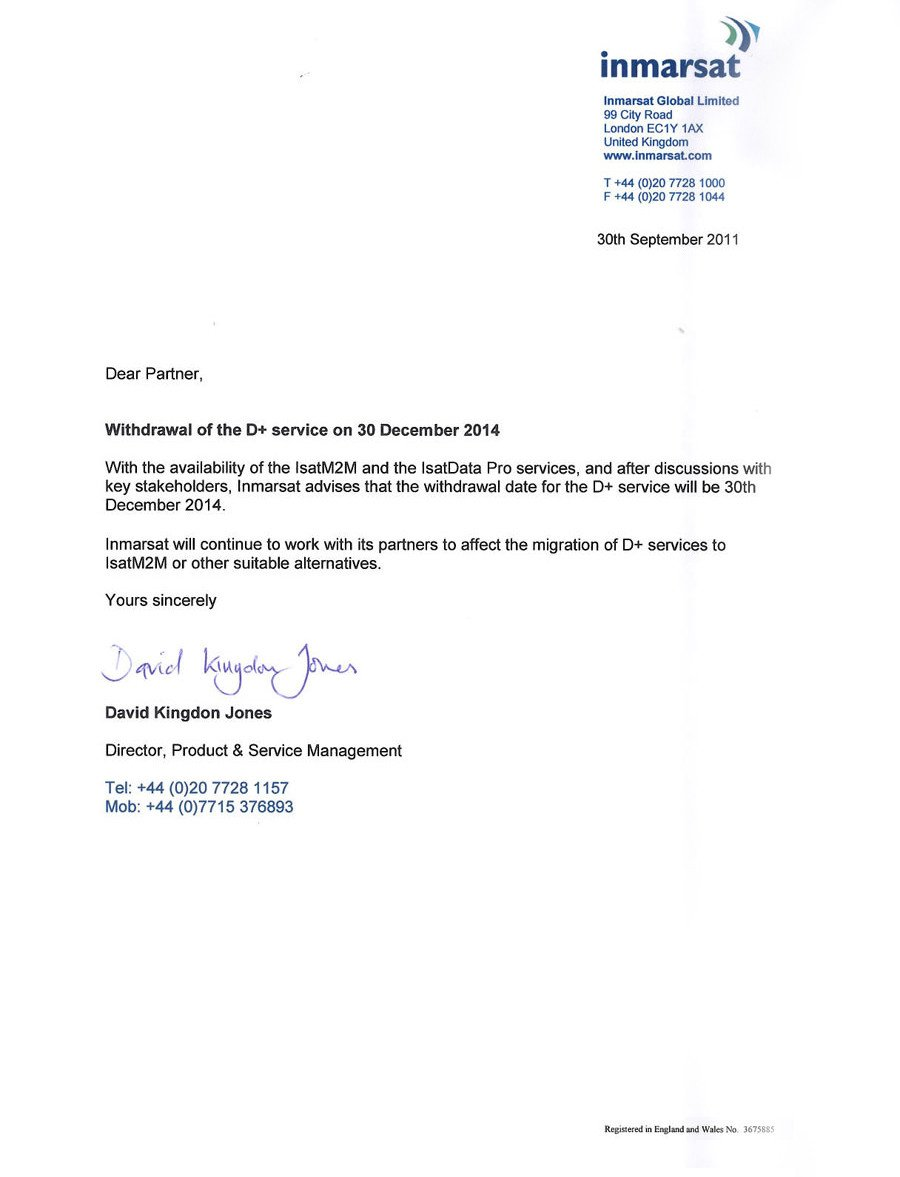 Retirement Letter to Clients Inmarsat Phase Out the D Service