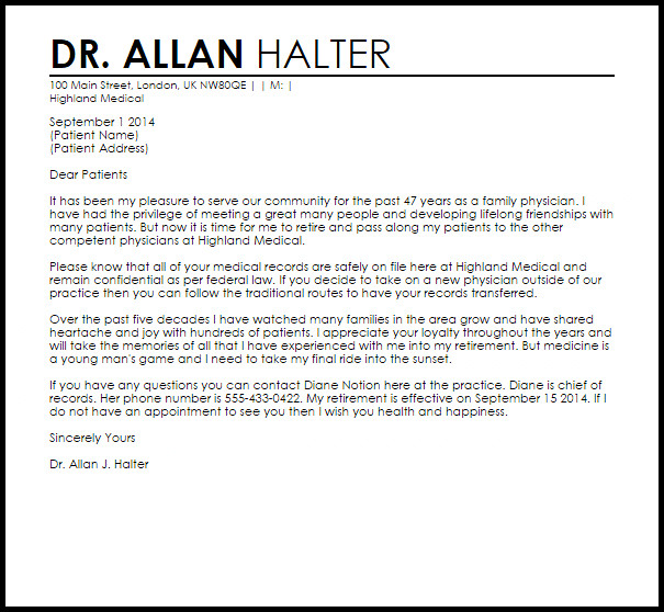 Retirement Letter to Clients Physician Retirement Letter Retirement Letters