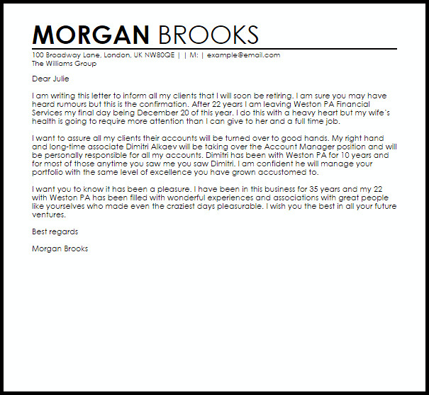 Retirement Letter to Clients Resignation Letter Example to Clients