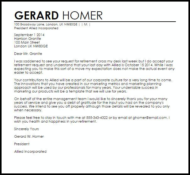 Retirement Letter to Clients Retirement Letter Of Appreciation