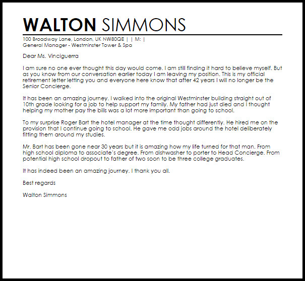 Retirement Letter to Clients Retirement Letter to Boss Retirement Letters