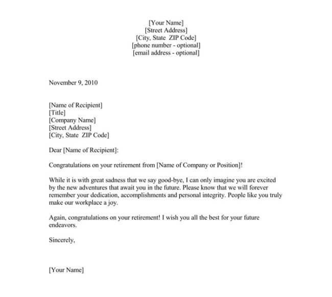 Retirement Letter to Clients Sample Farewell Letter 9 Docs for Word and Pdf