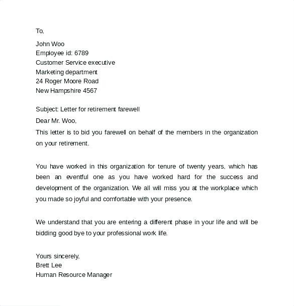 Retirement Letter to Clients Sample Farewell Mail to Colleagues – Gulflifa