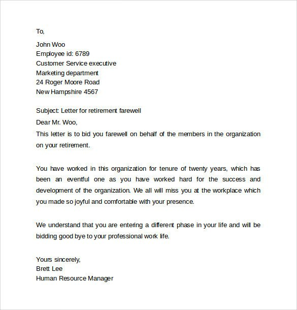 Retirement Letter to Coworkers 14 Sample Farewell Letters to Co Workers Pdf Word