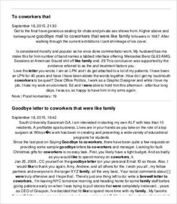 Retirement Letter to Coworkers 3 Retirement Letter to Colleagues Pdf Doc