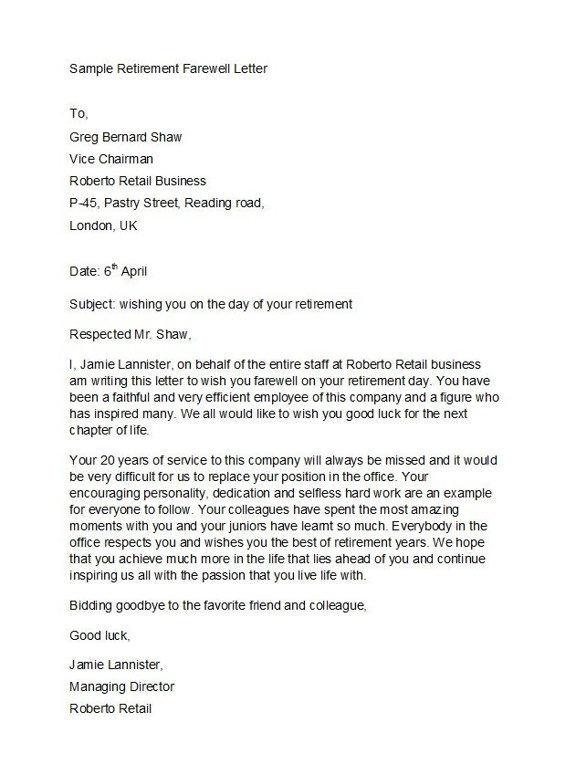 Retirement Letter to Coworkers 38 Professional Retirement Announcement Letters & Emails