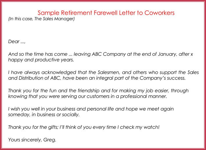 Retirement Letter to Coworkers Retirement Letter Samples Examples formats & Writing Guide