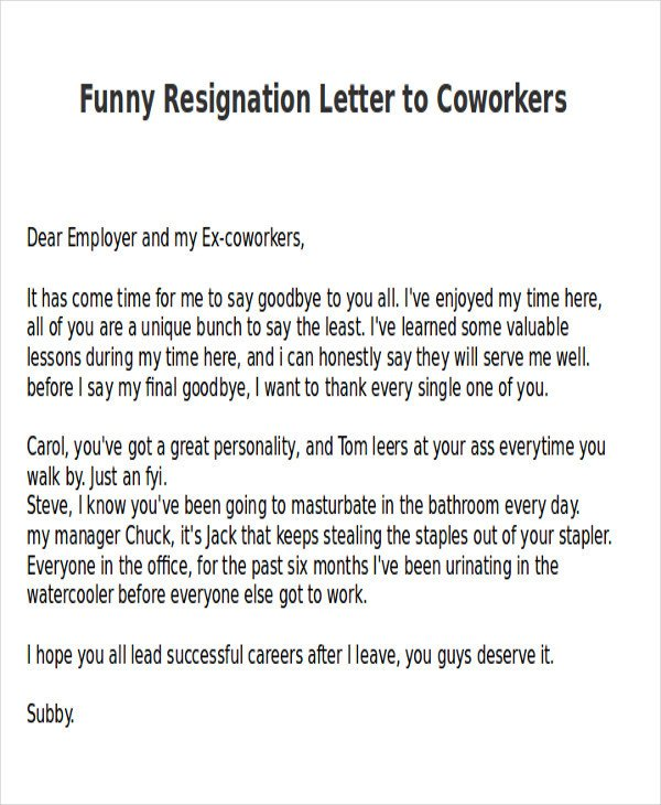 Retirement Letter to Coworkers Sample Funny Resignation Letter 6 Examples In Pdf Word