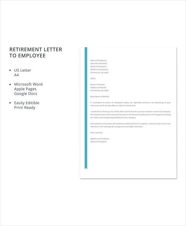 Retirement Letter to Employee 20 Sample Useful Retirement Letters to Download