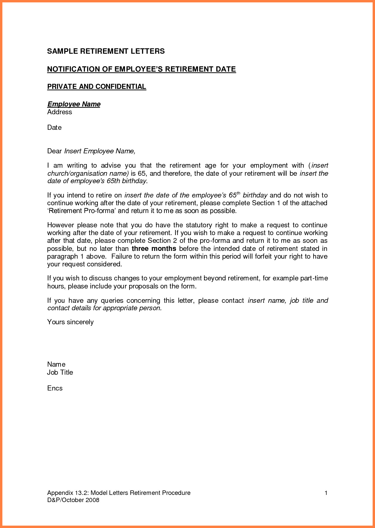 Retirement Letter to Employee 5 Employer Notice Letter to Employee