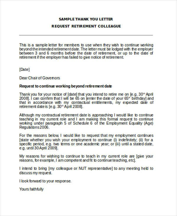 Retirement Letter to Employee 74 Thank You Letter Examples Doc Pdf