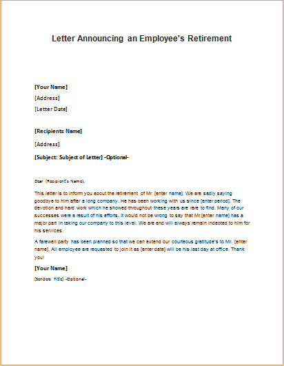 Retirement Letter to Employee Congratulation Letter to An Employee On His Job