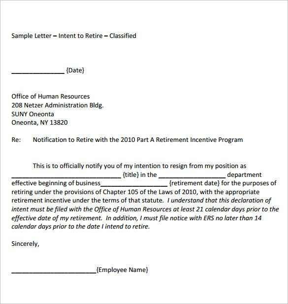 Retirement Letter to Employee Download formal Retirement Letter Template Free