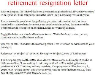 Retirement Letter to Employee Resignation Letter Template October 2012
