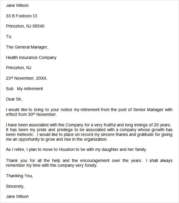 Retirement Letter to Employee Retirement Letter 17 Download Free Documents In Pdf Word