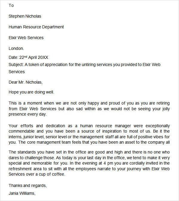 Retirement Letter to Employee Retirement Letter 20 Download Free Documents In Pdf Word