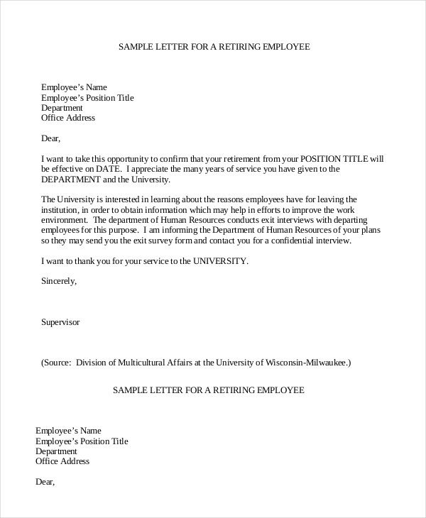 Retirement Letter to Employee Retirement Letter 7 Free Pdf Documents Dpwnload