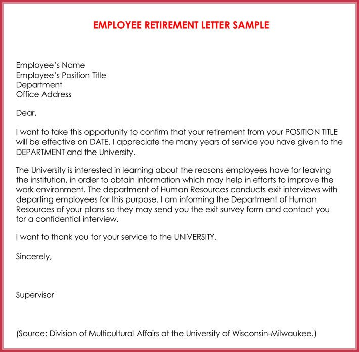 Retirement Letter to Employee Retirement Letter Samples Examples formats & Writing Guide