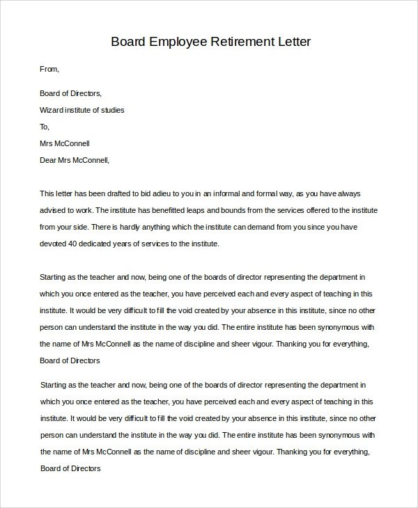 Retirement Letter to Employee Sample Retirement Letter 10 Examples In Pdf Word