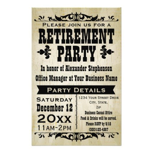 Retirement Party Flyer Templates Custom Vintage Country Retirement Party Invitation Flyer