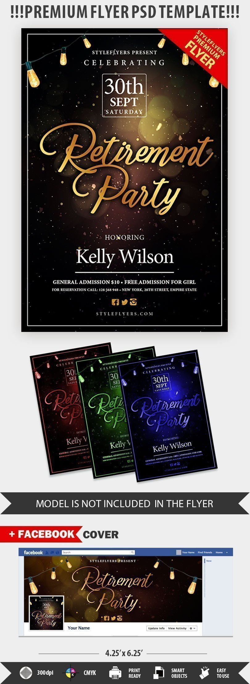 Retirement Party Flyer Templates Retirement Psd Flyer Template Styleflyers