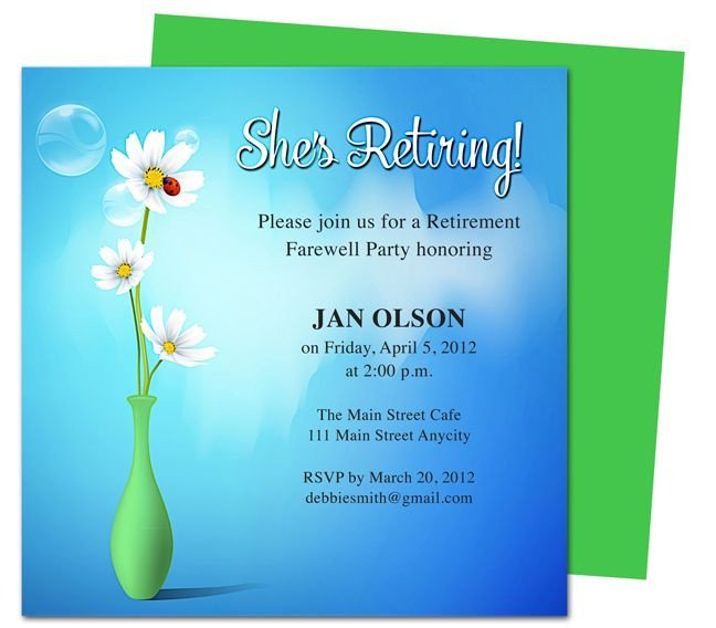 Retirement Party Invitation Templates Printable Diy Vase Retirement Party Invitations Templates