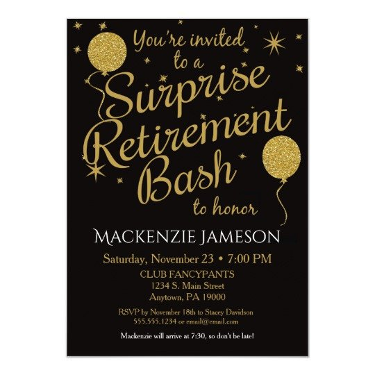 Retirement Party Invitation Templates Surprise Retirement Party Invitation Gold Balloons