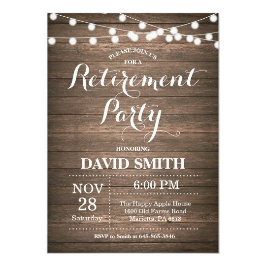 Retirement Party Invitations Template Rustic Retirement Party Invitation Card