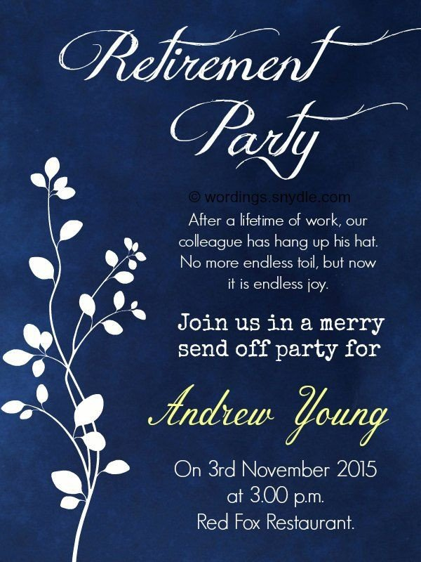 Retirement Party Invite Template Nice Retirement Party Invitation Wording