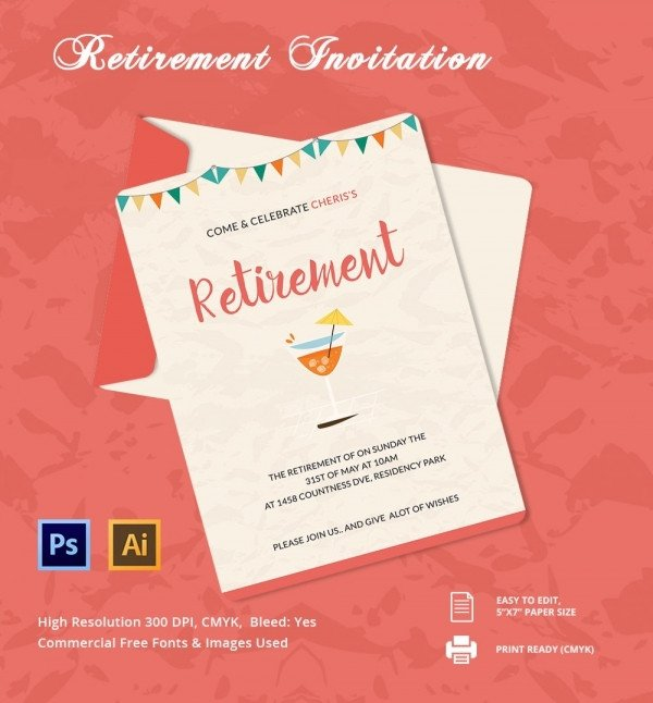 Retirement Party Invite Template Retirement Party Invitation Template 36 Free Psd format