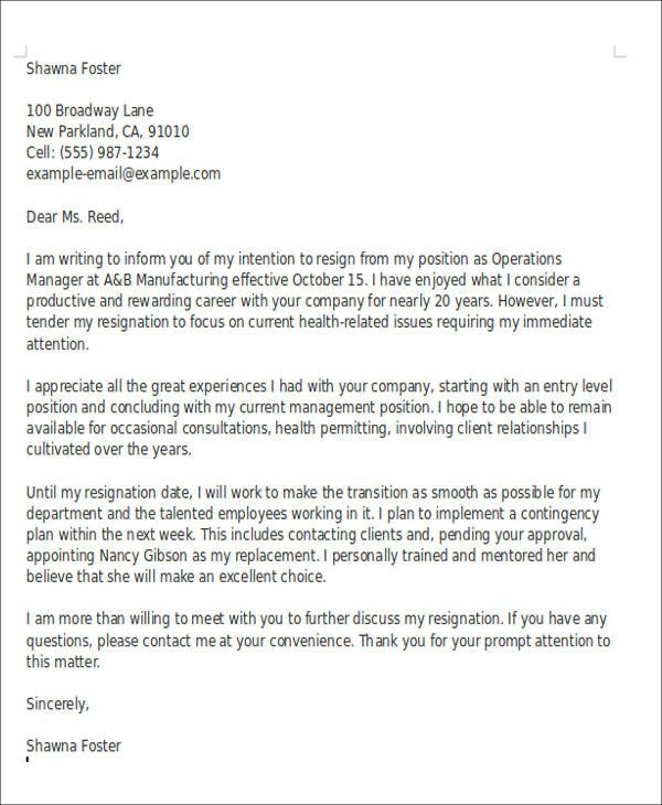 Retirement Resignation Letters Samples 10 Sample Retirement Resignation Letters Pdf Word