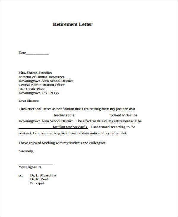 Retirement Resignation Letters Samples 6 Retirement Resignation Letter Samples and Templates