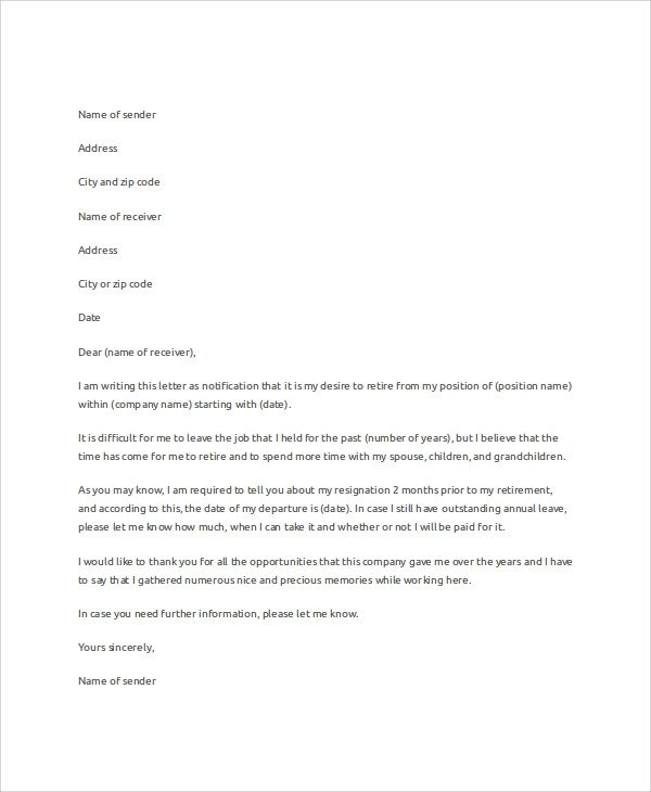 Retirement Resignation Letters Samples Sample Letter Of Resignation 7 Examples In Word Pdf