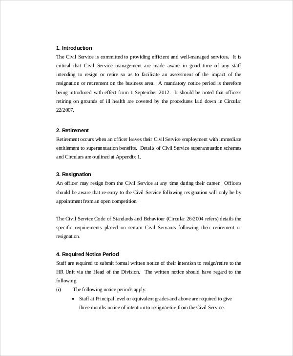 Retirement Resignation Letters Samples Sample Retirement Resignation Letter 9 Documents In Pdf