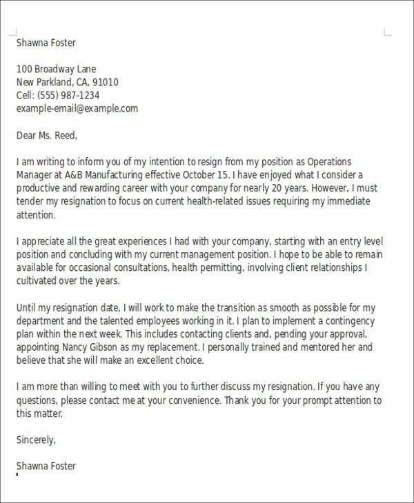 Retiring Letter Of Resignation 10 Sample Retirement Resignation Letters Pdf Word