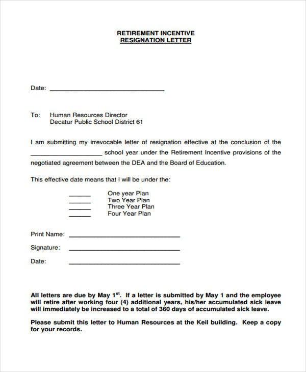 Retiring Letter Of Resignation 12 Retirement Resignation Letter Template Free Word