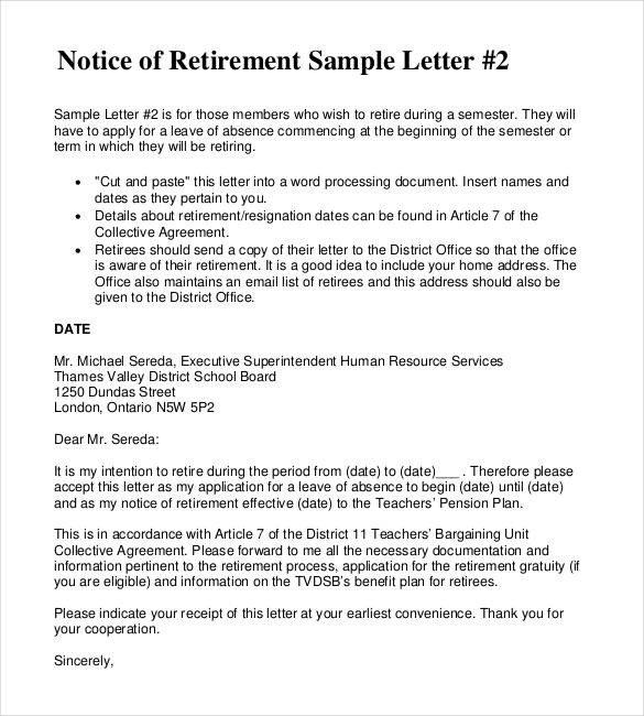 Retiring Letter Of Resignation 2 Resignation Retirement Letter Templates Pdf