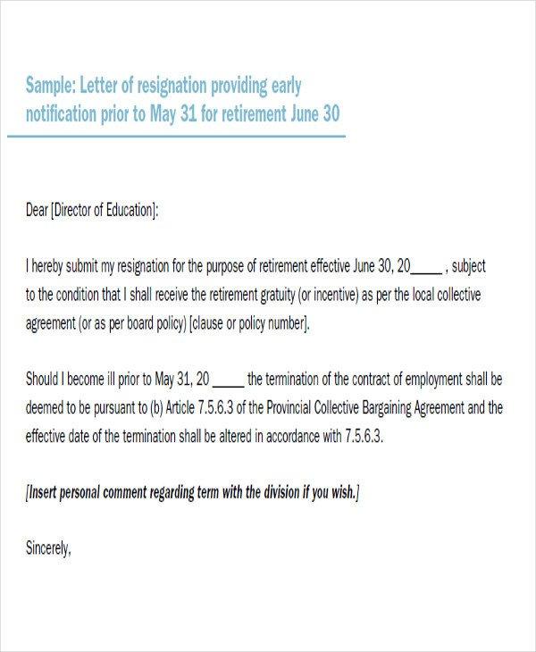 Retiring Letter Of Resignation 65 Sample Resignation Letters