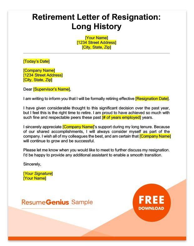 Retiring Letter Of Resignation Life Specific Resignation Letters Samples