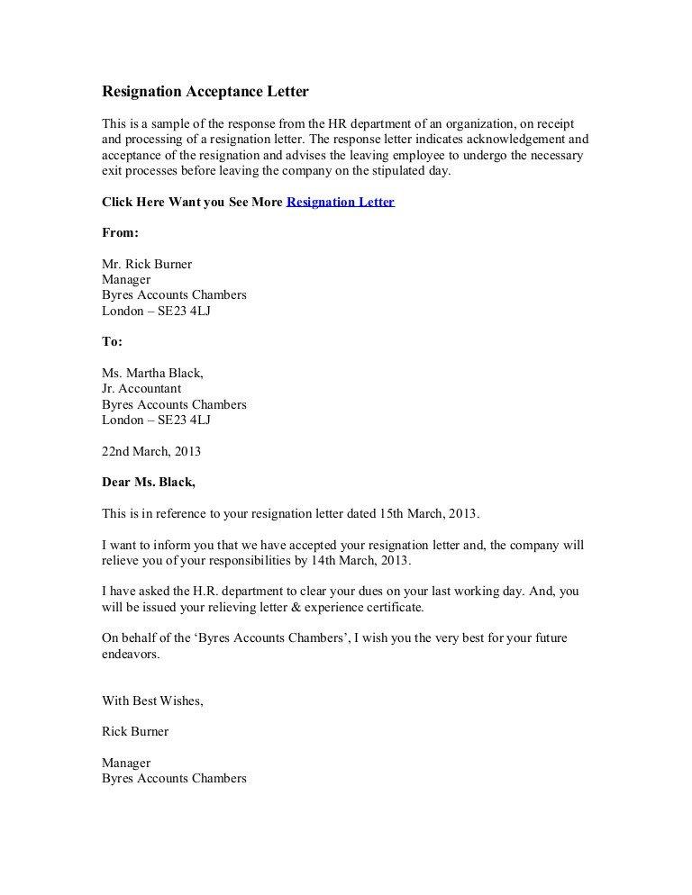 Retiring Letter Of Resignation Resignation Acceptance Letter