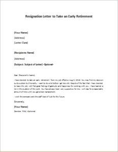 Retiring Letter Of Resignation Resignation Letter to Take An Early Retirement