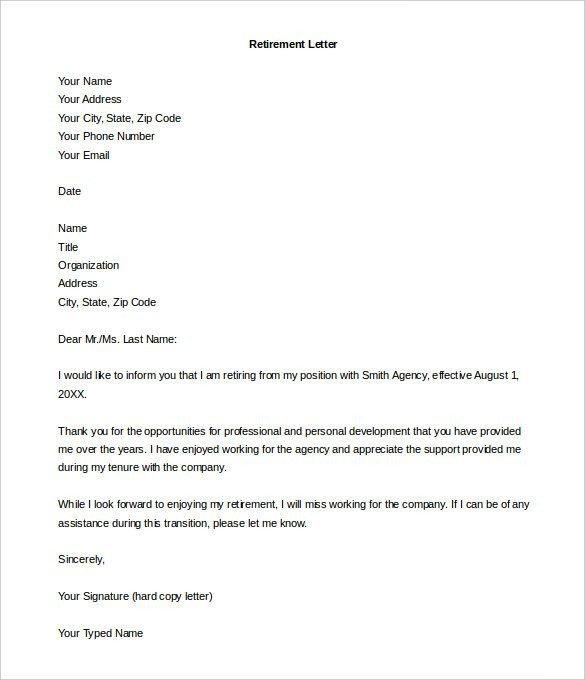 Retiring Letter Of Resignation Retirement Letter Template – 10 Free Word Pdf Documents